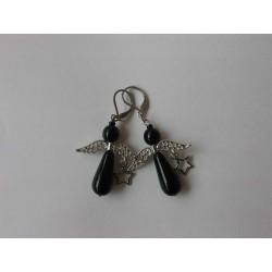 Naušnice andělíčci, černé