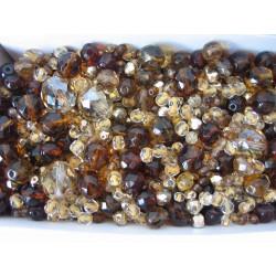 MIX různých perlí 250 g hnědá