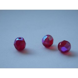ROUND BEADS 7 mm, RUBIN/AB