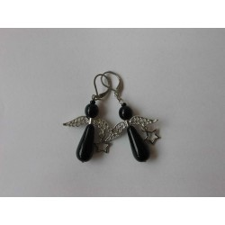 EARRING, SMALL ANGELS, BLACK