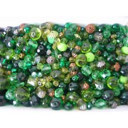 Mix různých perlí 250 g zelená