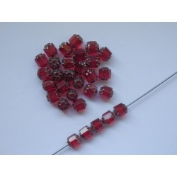 BOLS BEADS 6 mm RUBY/PLATINUM
