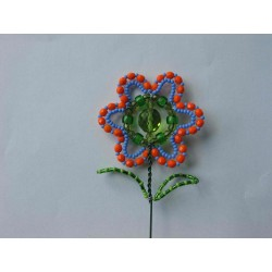 FLOWER BEAD STICK, ORANGE/BLUE