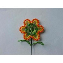 FLOWER BEAD STICK, ORANGE