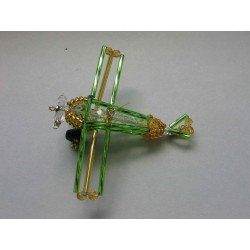 AIRCRAFT 8 X 7 CM, GREEN/GOLD