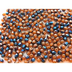 PRESSED BEAD 4 mm BROWN/AZURO