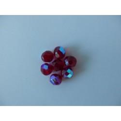 ROUND BEADS 8 mm, RUBY/AB
