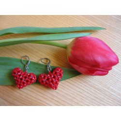 EARRING SMALL HEARTS, RED